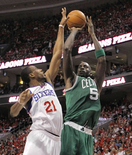Celtics' Garnett shoots over the defense of Philadelphia 76ers' Young during Game 3 of their NBA Eastern Conference semi-final playoff basketball game in Philadelphia